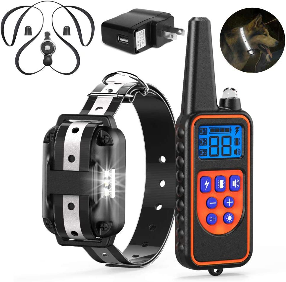 Veckle Dog Training Collar, 2019 Upgraded Rechargeable Shock Collar for Dogs Safe Design Waterproof Dog Shock Collar with Remote, Beep, Charger, Vibration Electronic Collar for Large and Medium Dogs