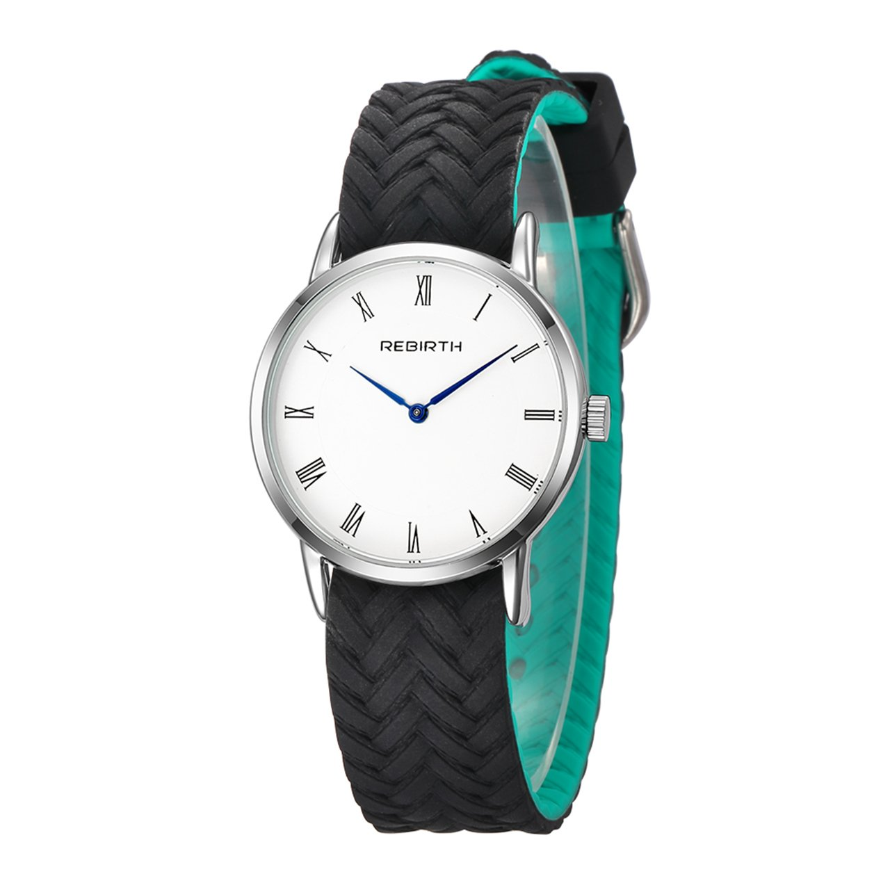 Top Plaza Unisex Casual Simple Silicone Strap Analog Quartz Watch Unique Reversible Doulbe Color Band Japanese Quartz Waterproof Watch(Black and Green)