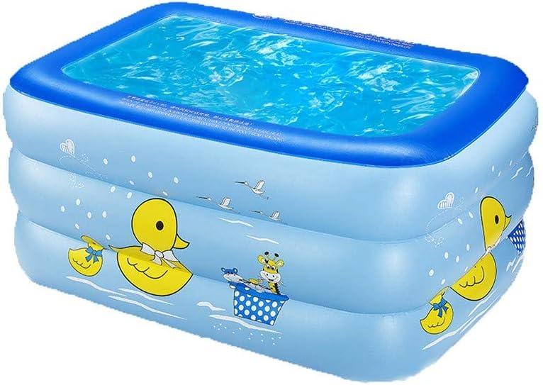 FCH Piscina Hinchable Cuadrada Piscina Infantil Hinchable Azul pequeño Pato Amarillo Airbag Independiente Multicapa Familia Piscina de Bolas Bañera 130 * 90 * 60 cm
