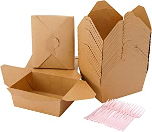 BBG 38 oz (60 Pack) Take Out Food Containers with 30 Pcs Forks, Disposable Paper Take Out Boxes,Microwaveable Kraft Brown Lunch Box for Restaurants