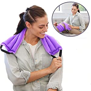 My Heating Pad Microwavable Multi Purpose Warmer | Portable Neck Wrap and Shoulder Heating Pad with Handles for Easy Application | Back Pain Heating Pad and Menstrual Cramps Moist Heat Pack (Purple)