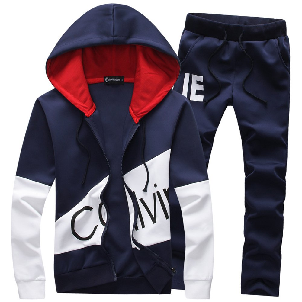 Manluo Boys Sweatsuits Calvin Print Tracksuits Casual Hoodies Jogging Suits Sports Active Workout Gym