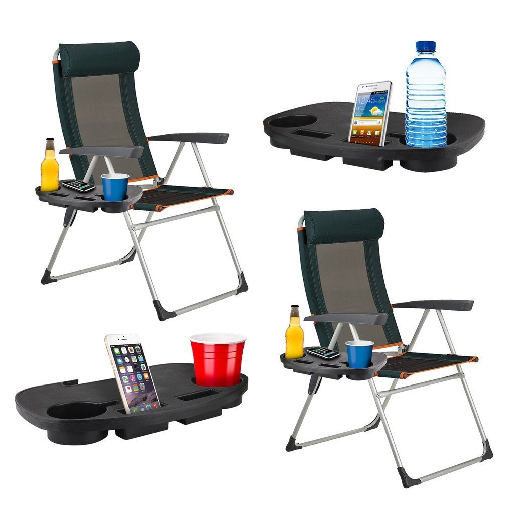 Fineway Mobile Phone Ideal for Drink 2 x Clip On Side Table Tray For Zero Gravity Sun Lounger//Camping Chair Outdoor Garden Fishing Beach Storage Tidy Books Ipad Tablet Holder