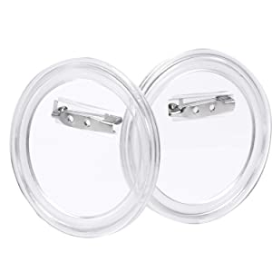 Aboat 25 Sets Pins Buttons Design a Button , Clear Plastic Craft Button with Pin for DIY Crafts and Children's Craft Activities