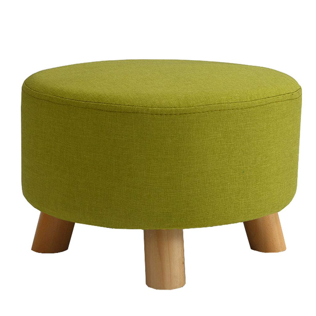 Round Wooden Ottomans Pouffe Footstool Upholstered Footstool Footrest Creative Log Soft Chair Children Stool with Removable Flannelette Cover by SONGTING Ottomans