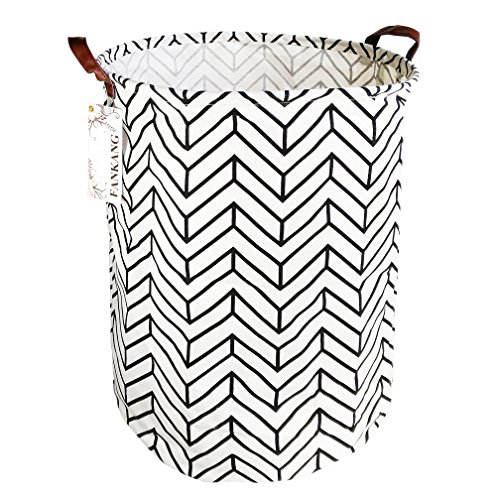 Canvas Laundry - FANKANG Storage Bins, Nursery Hamper Canvas Laundry Basket Foldable with Waterproof PE Coating Large Storage Baskets for Kids Boys and Girls, Office, Bedroom, Clothes,Toys (Wheat)