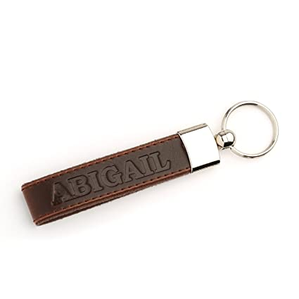 OTTO Leather Personalized Keychains - Custom Leather Key chains, Engraved  Elegant Keyrings with Sturdy Rings for Keys - ABIGAIL - (Dark Brown)