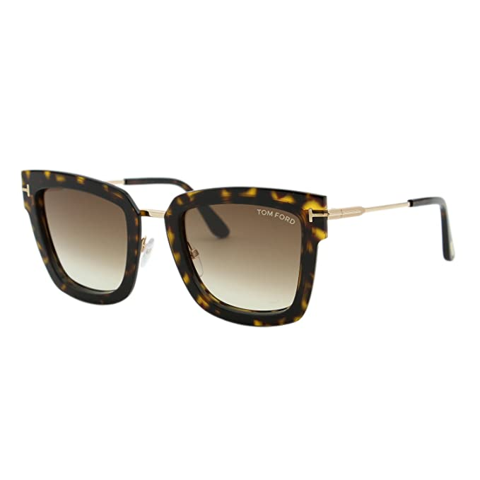 932631c769e 2018 Tom Ford Lara-02 FT0573 Women Dark Havana   Gold Square T Logo  Sunglasses at Amazon Men s Clothing store