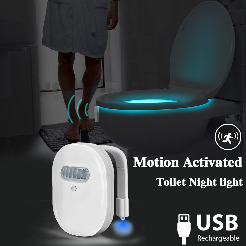 Rechargeable Toilet Light, ElegantLife Motion Sensor LED Toilet Night Light, 12-Color Motion Activated Toilet Bowl Light, Internal Memory, Light Detection