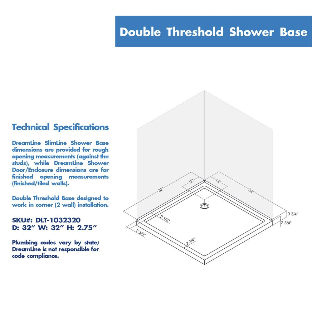 DreamLine SlimLine 32 In. D X 32 In. W X 2 3/4 In. H Corner Drain Double  Threshold Shower Base In White   Receptor   Amazon.com
