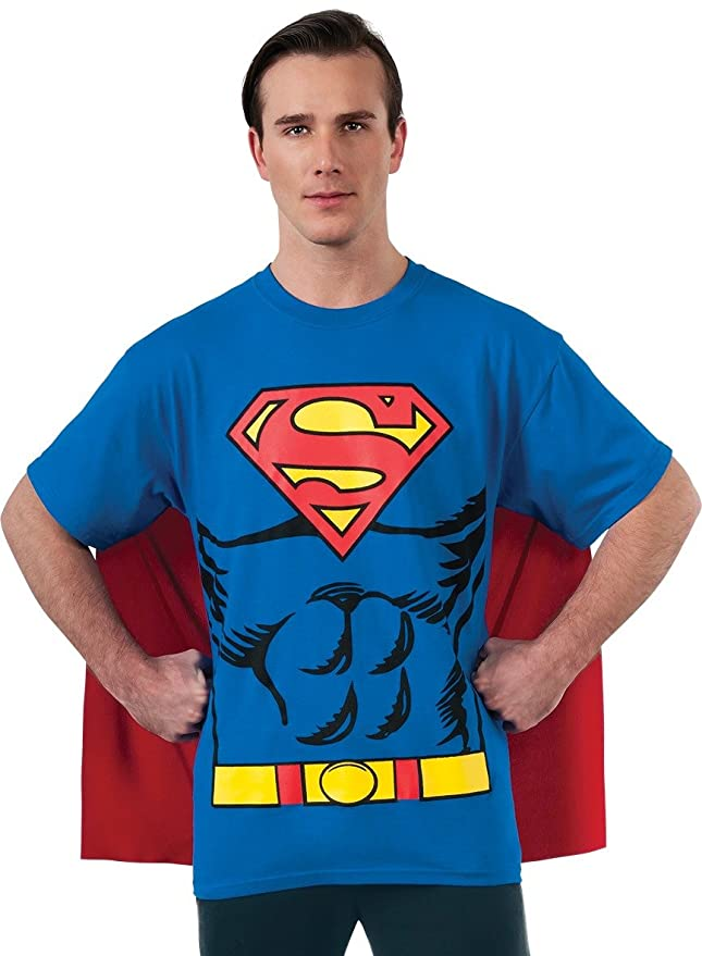 Rubie's Costume Co Men's Dc Comics Superman T-Shirt With Cape, Blue, X-Large