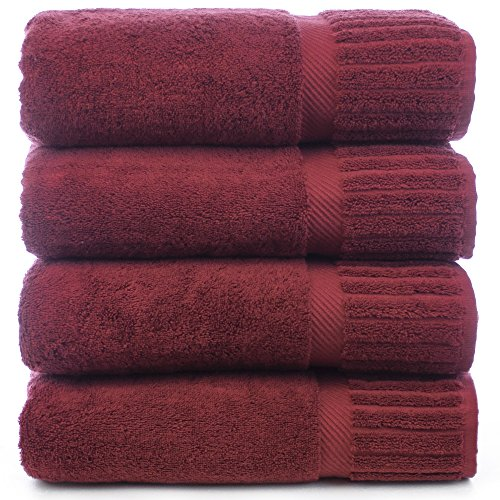 Bare Cotton Luxury Hotel & Spa Towel Turkish Bath Towels Piano, Cranberry, Set of 4 (Hotel Luxury Bath Towels compare prices)
