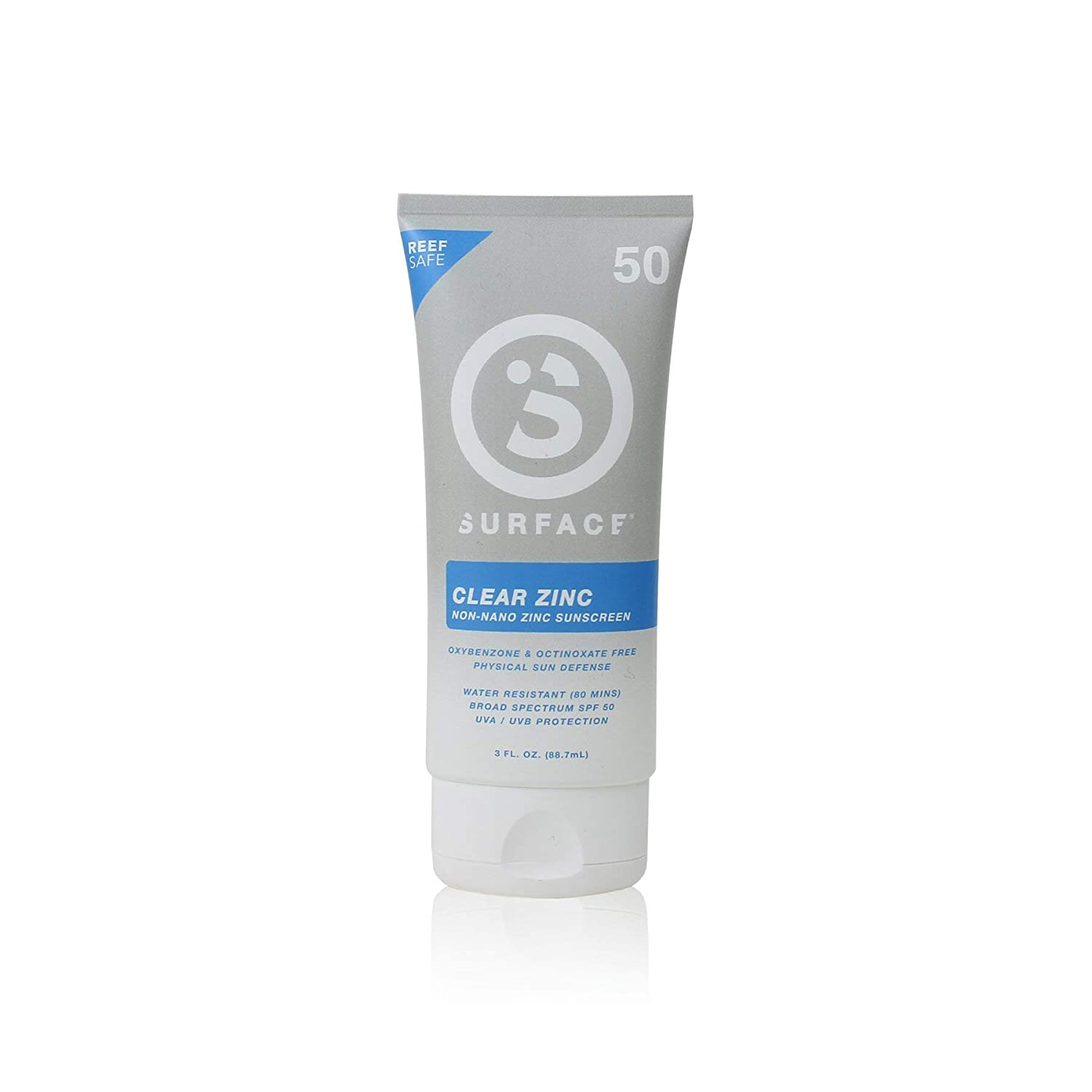Surface Clear Zinc Sunscreen Lotion - Reef Safe, Broad Spectrum UVA/UVB Protection, Physical Sun Protection, Cruelty Free, Hypoallergenic, Ultra Water Resistant - SPF 50, 3oz, 2 Count