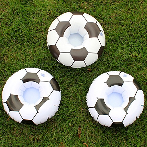 Labu Store 3pcs/lot Football Float Inflatable Drink Holder Decoration Swimming Pool Soccer Bathroom Beach Party Kids Bath by Labu Store