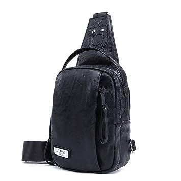 4767cbe79 CCZ Sling Bag, Men PU Leather Chest Bag Outdoor Business Crossbody Bag  Shoulder Bag Daypacks