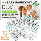 DLux Magnetic Cabinet Locks for Child Safety [12 Locks & Latches, 2 Keys, 4 Corner Guards Kit] Baby Proof Kitchen Drawers and Doors, No Tools, Screws or Drill Required, 41 Piece Set