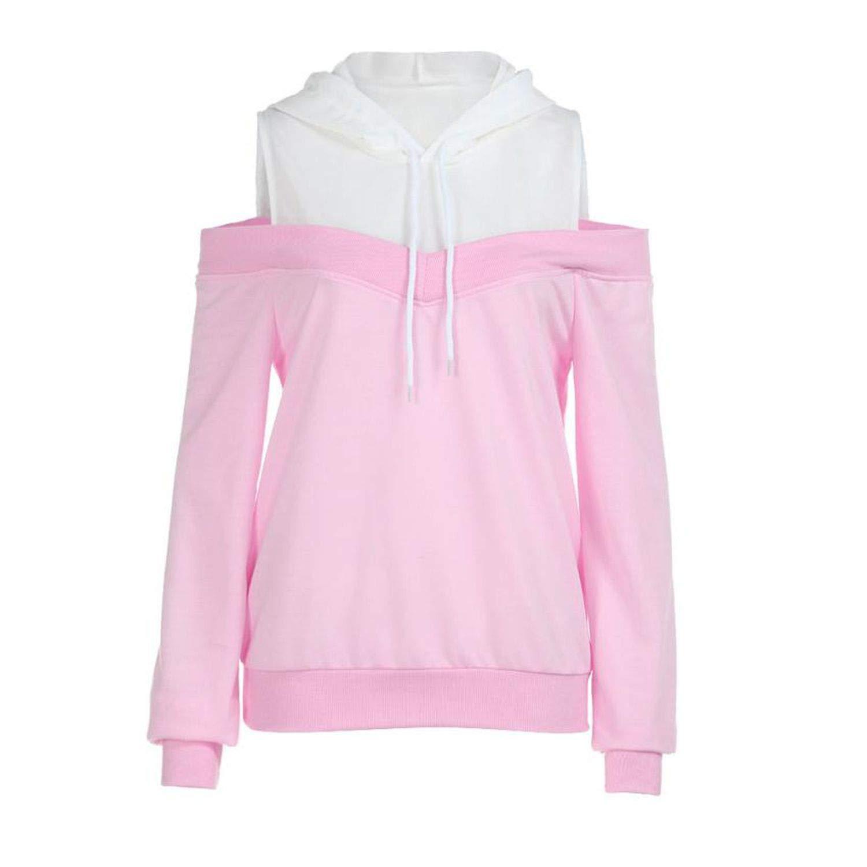 Sweatshirts Hoodie Sexy Cold Shoulder Long Sleeve Sweatshirt Hooded Pullover Tops Jumper Sudadera Mujer at Amazon Womens Clothing store: