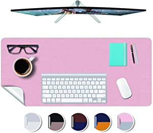 "Small Size Desk Mat Office Home Pad Protector Blotter Mat Writing Desk Topper Protector Mouse Pad Desktop Mouse Pads Multifunctional Mat 10x12""(Pink+Sliver)"