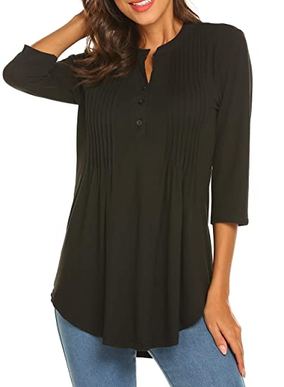 a5b350295fd8 Womens Plus Size Black Long Sleeve Blouse Tops V-Neck Tunic Shirt at Amazon  Women's Clothing store: