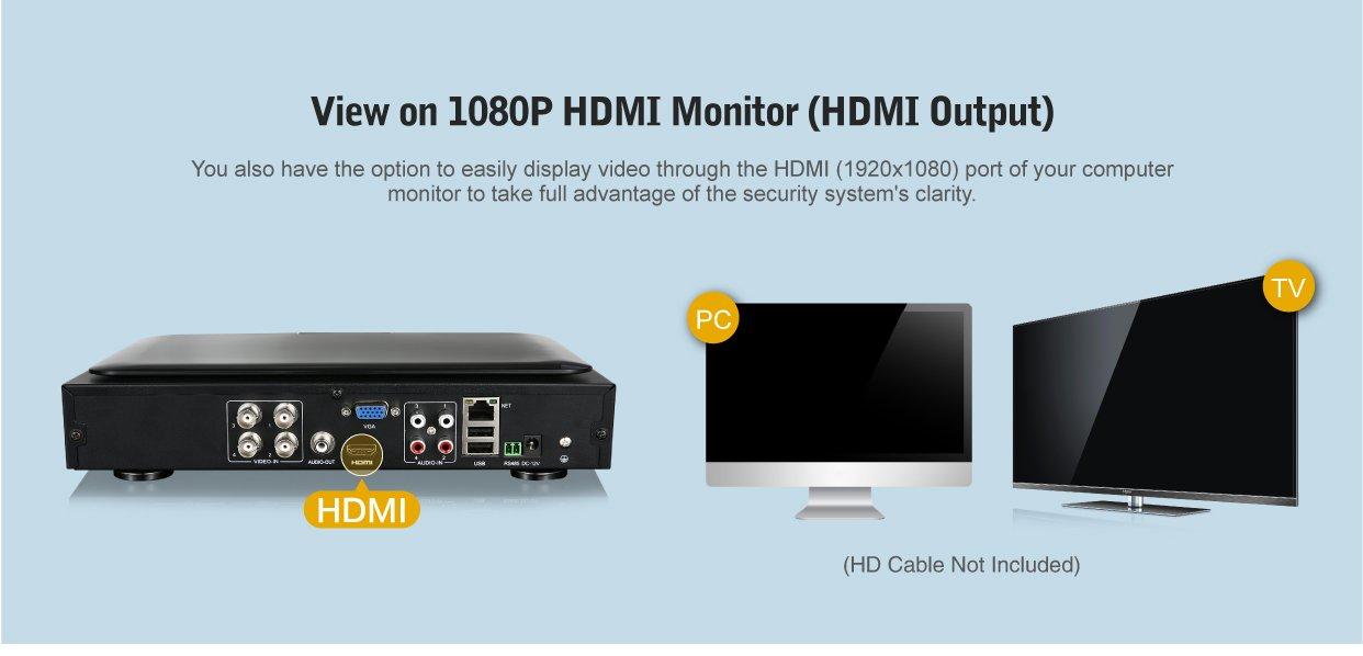 -1TB Disco Duro de vigilancia SANNCE Kit de Seguridad con Monitor de 10.1 Pulgadas 4 c/ámaras de vigilancia H.264 Onvif 4CH CCTV P2P DVR con Monitor 4 c/ámaras 720P Visi/ón Nocturna IR-Cut IP66