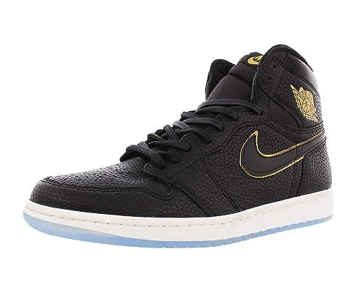 reputable site 92540 7093f Nike Mens Air Jordan High 1 Retro OG Black/Metallic Gold-Summit White Size  11.5