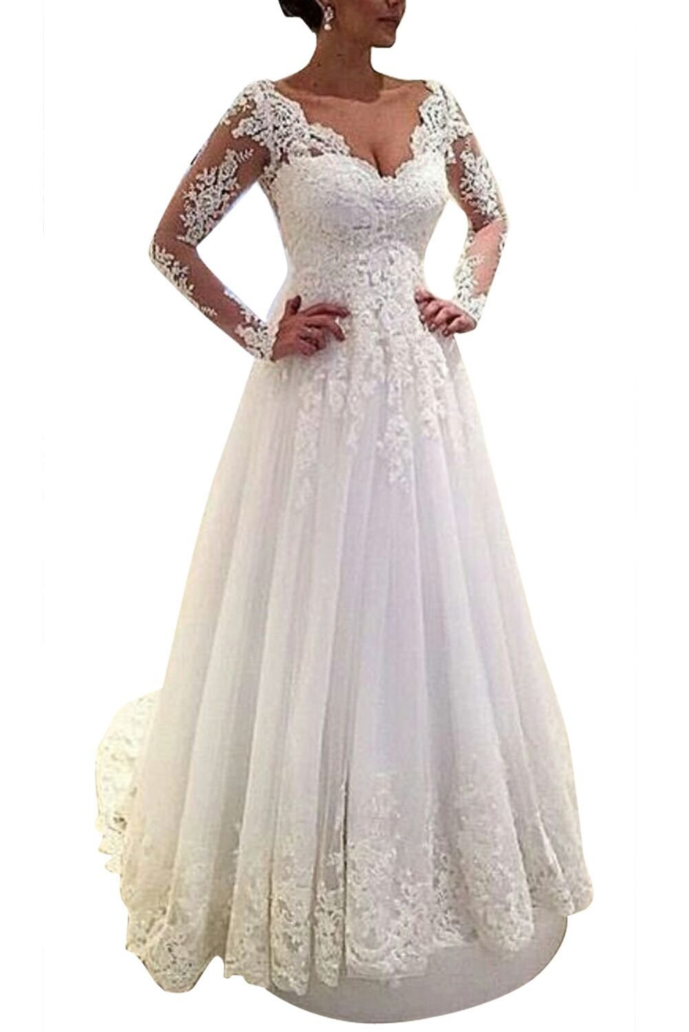MARSEN Sweetheart Backless Wedding Dress Long Beaded Lace Appliques Bridal Gown White A Line Customize