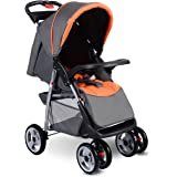 Costzon Baby Stroller, Foldable Infant Pushchair with 5-Point Safety Harness, Multi-Position Reclining Seat, Parent and…