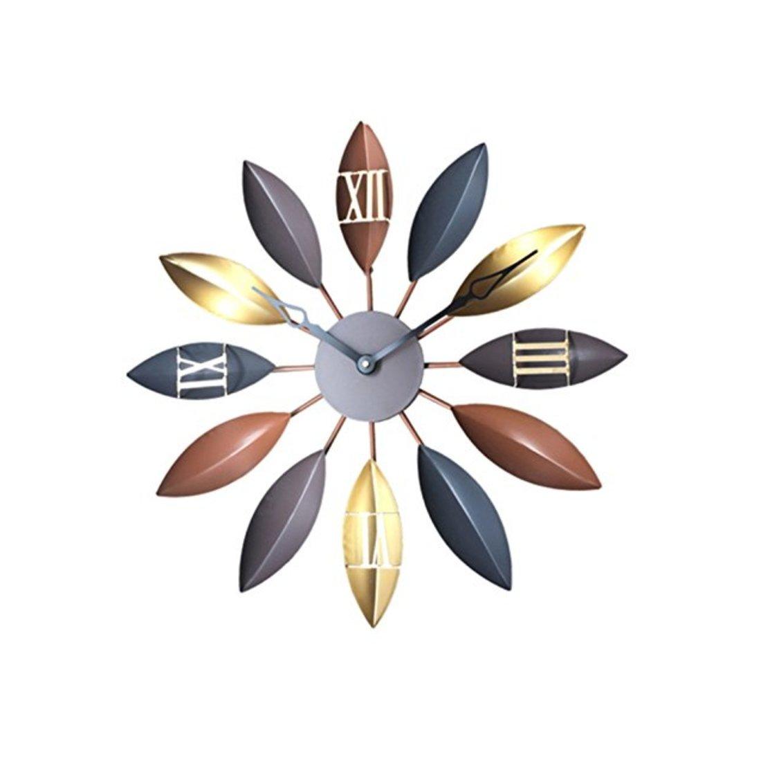 GREEM MARKET(グリームマーケット) ウォール クロック 大 大きい モダン おしゃれ モダン 葉 リーフ デザイン 金属 メタル 壁掛け時計 掛け時計 品番:GMS00965(モカ) B077Q7DB6C モカ モカ