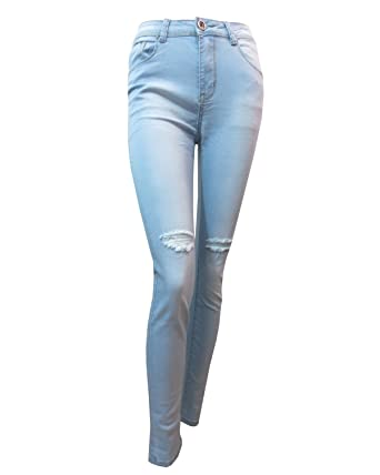 ba45e1a16c YSL Fashion Womens Sky Blue High Waist Skinny Jeans Ladies Skinnies ...