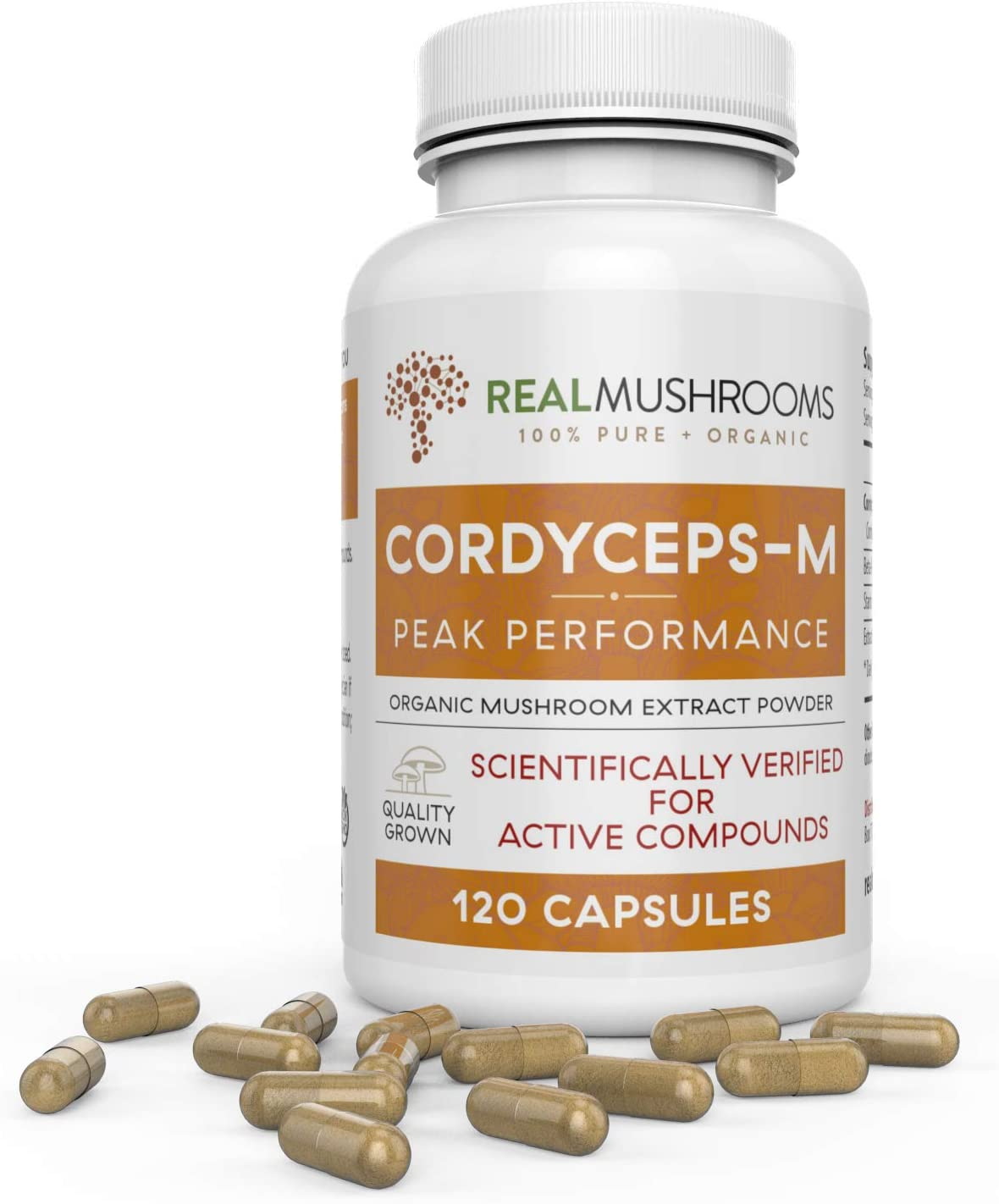 Organic Cordyceps Mushroom Capsules by Real Mushrooms – 120 Capsules of Extract Powder