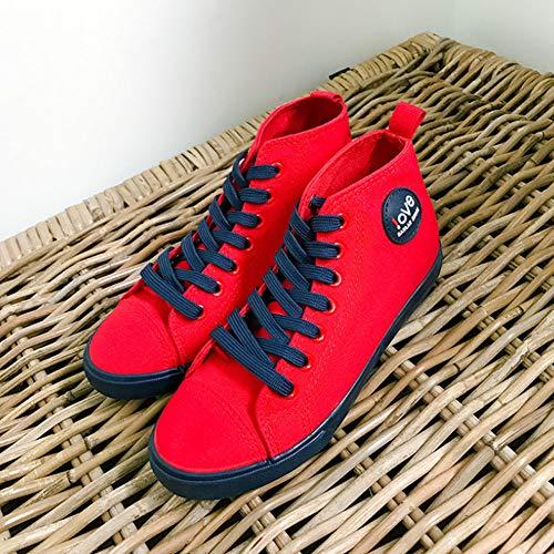 High Scarpe Top Rosso Donna Ragazze Yudesun Sneaker Da Moda Skateboard Espadrillas Antiscivolo Piattaforma Ginnastica Tela Student Casuale Hq5zvn5