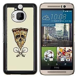 Qstar Arte & diseño plástico duro Fundas Cover Cubre Hard Case Cover para HTC One M9Plus M9+ M9 Plus (Pizza de la bandera del cráneo de)