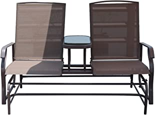 PatioPost 2 Person Outdoor Mesh Fabric Patio Double Glider Chair W/Center  Table