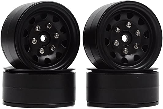 INJORA 4PCS RC 1,9 Cerchioni Metallo Beadlock Wheel Rim per 1:10 RC Rock Crawler Traxxas TRX-4 TRX4 RC4WD D90 D110 TF2 Axial SCX10 90046 Grigio