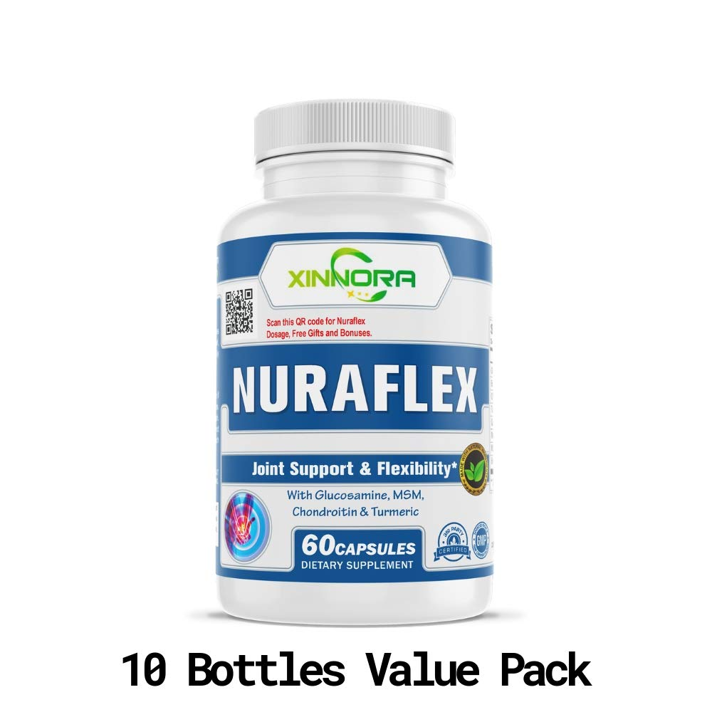 XINNORA Nuraflex - Glucosamine with Chondroitin Turmeric MSM Boswellia - Joint Support & Flexibility Supplement - Anti-Inflammatory & Antioxidant Pills for Your Back, Knees, Hands 60 Caps x 10 BTLs by Xinnora (Image #1)