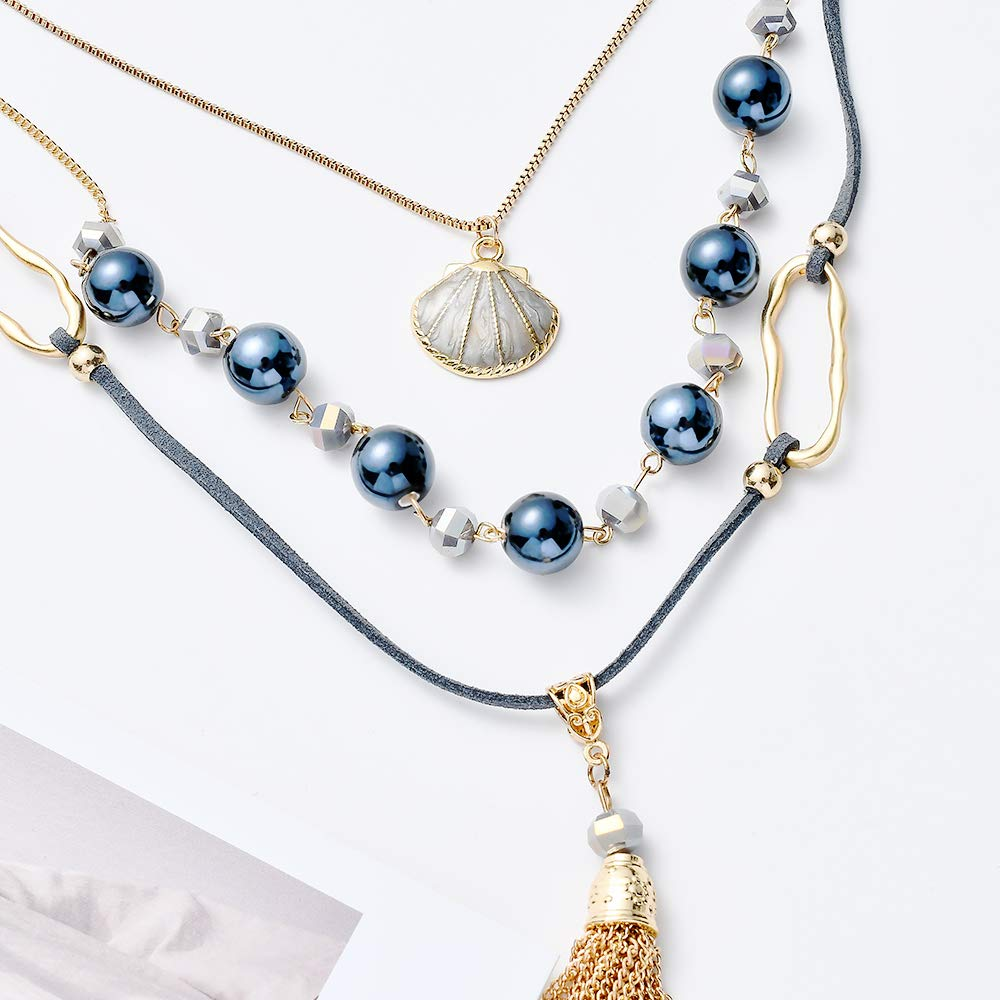 Tassel Pendant Layered Necklace for Women Boho Leather Sweater Chain Statement Crystal Shell Pendant Beaded Long Y Necklaces