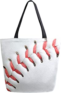 ZzWwR 3d Baseball Close Up Print Extra Large Canvas Shoulder Tote Top Storage Handle Bag for Gym Beach Weekender Travel Reusable Grocery Shopping