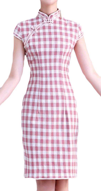 Joe Wenko Women's Qipao Linen Classic Slit Ethnic Style Bodycon Plaid Dresses Pink XS