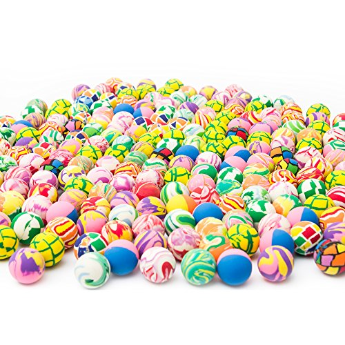 Fun Central AU197 250 Pieces, 27mm Assorted Bouncing Balls Bulk for Kids, Rubber Swirl Bouncing Balls, High Bouncing Balls -