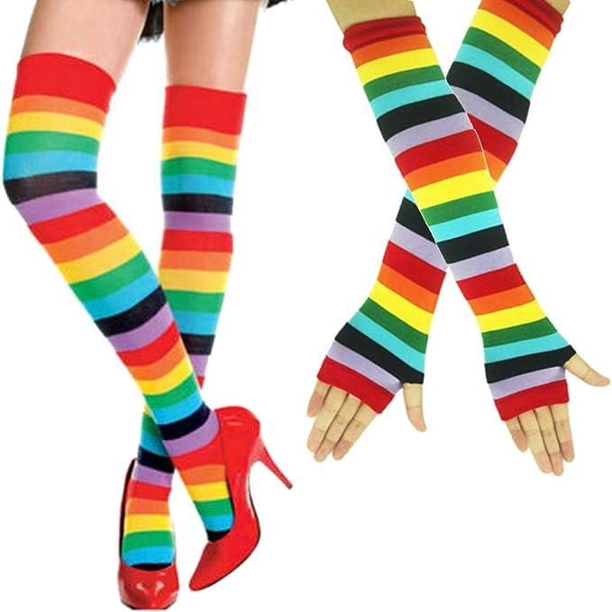 LUOEM Mujeres Rainbow Knee High Socks Colorful Muslo calcetines partido Cosplay Costom para mujeres ni/ñas