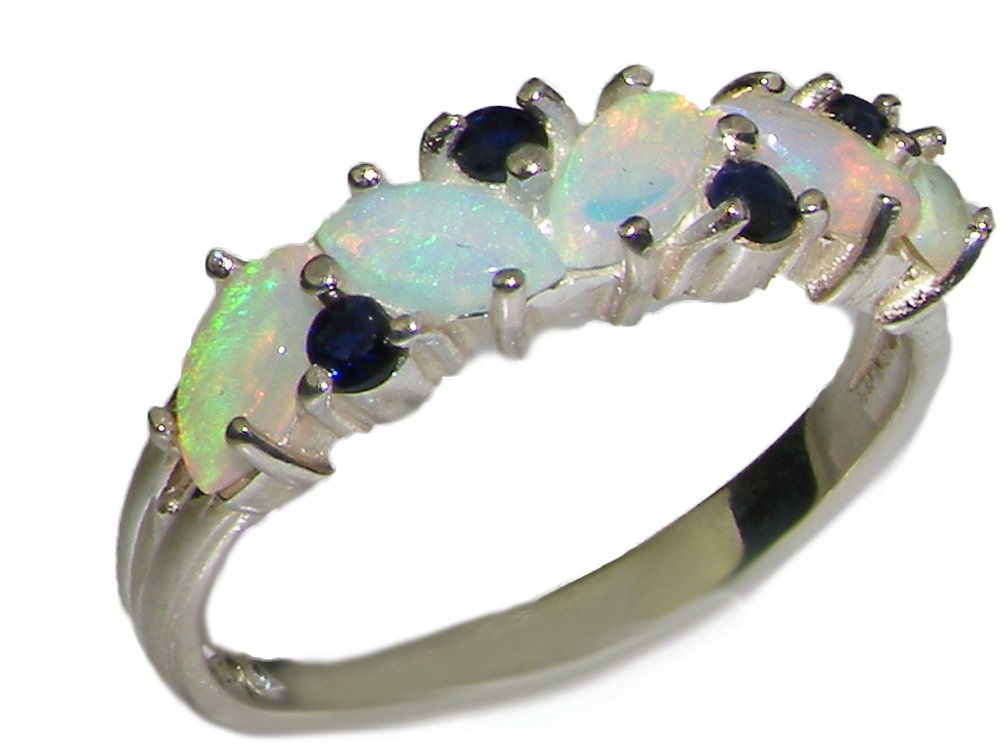 925 Sterling Silver Natural Opal and Sapphire Womens Eternity Ring - Sizes 4 to 12 Available
