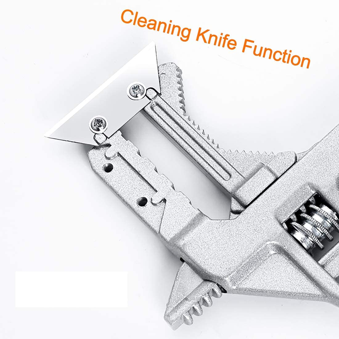 verstellbares Badezimmer-Werkzeug QISF Mehrzweck-Schraubenschl/üssel gro/ße /Öffnung mit Klingen 6 75 mm Aluminiumlegierung kurzer Griff
