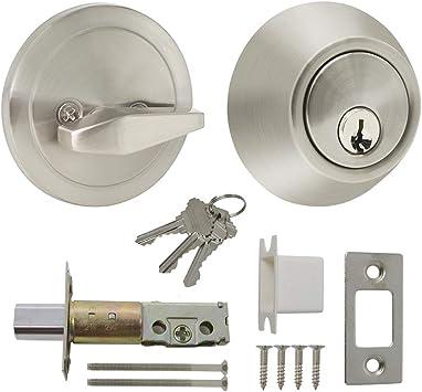 Stainless Steel Brushed Knobs Handles Lock-Latch Home Room Door Lock with 3 Keys