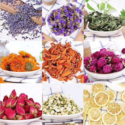 - Oameusa Dried Flowers,Dried Flower Kit,Candle Making, Soap Making, AAA Food Grade-Pink Rose,Lavender,Lily,Mint Leaf,Lemon,Chrysanthemum,-9 Bags Box Packing