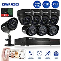 OWSOO 16CH CIF 1TB Hard Drive CCTV DVR Security System with 4x 800TVL Indoor Dome Camera & 4x 800TVL Outdoor Weatherproof Bullet Camera, Support IR-CUT Filter Infrared Night Vision Plug and Play