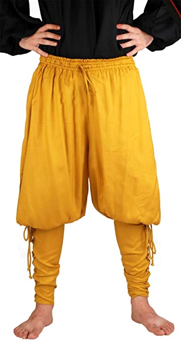 Deluxe Adult Costumes - Pirate Captain Cottuy gold lace-up fitted calf pirate pants costume