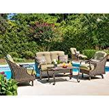 Hanover VENTURA4PC Ventura 4-Piece Indoor Lounging Set Outdoor Furniture, Vintage Meadow