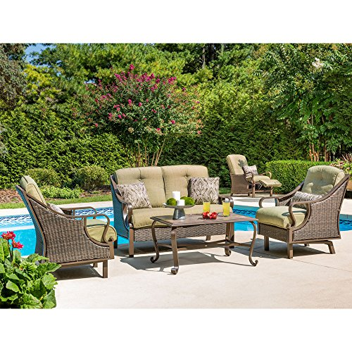 (Hanover VENTURA4PC Ventura 4-Piece Indoor Lounging Set Outdoor Furniture, Vintage Meadow)