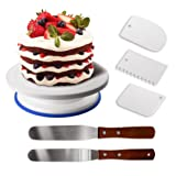 GiBot Cake Decorating Turntable Rotating Cake Stand Cake Plate with 3 Icing Scraper and 2 Stainless Steel Palette Knife for Cake Decorating, Baking, Pastries and Icing Patterns, 28x7 cm, White