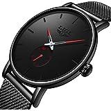 LIGE Mens Watches Fashion Waterproof Ultra Thin Simple Analog Quartz Watch Black Stainless Steel Mesh Belt Wristwatches